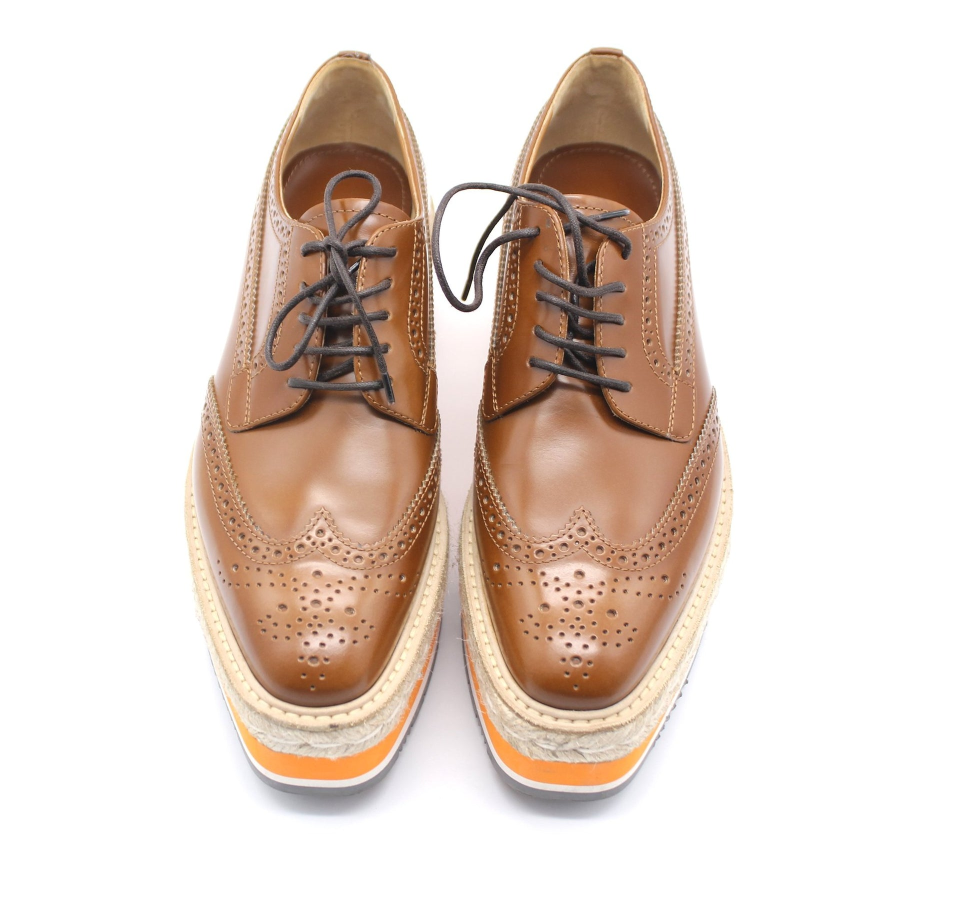 Prada Leather Lace-Up Derby Shoe