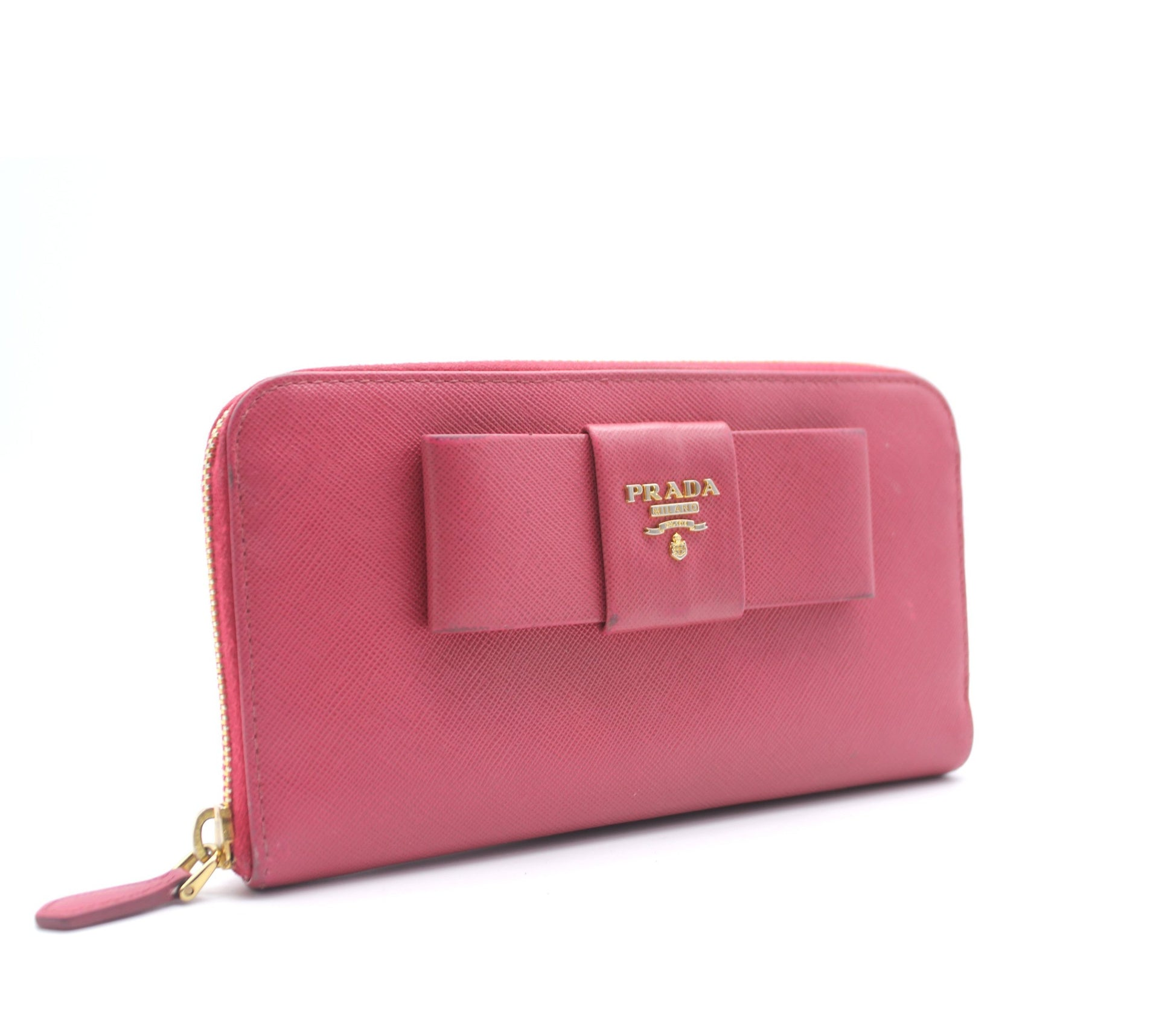 6f0110f43843 Prada Pink Saffiano Peonia Fiocco Bow Zip Around Wallet – STYLISHTOP