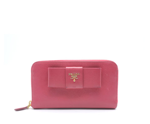 Pink Saffiano Peonia Fiocco Bow Zip Around Wallet