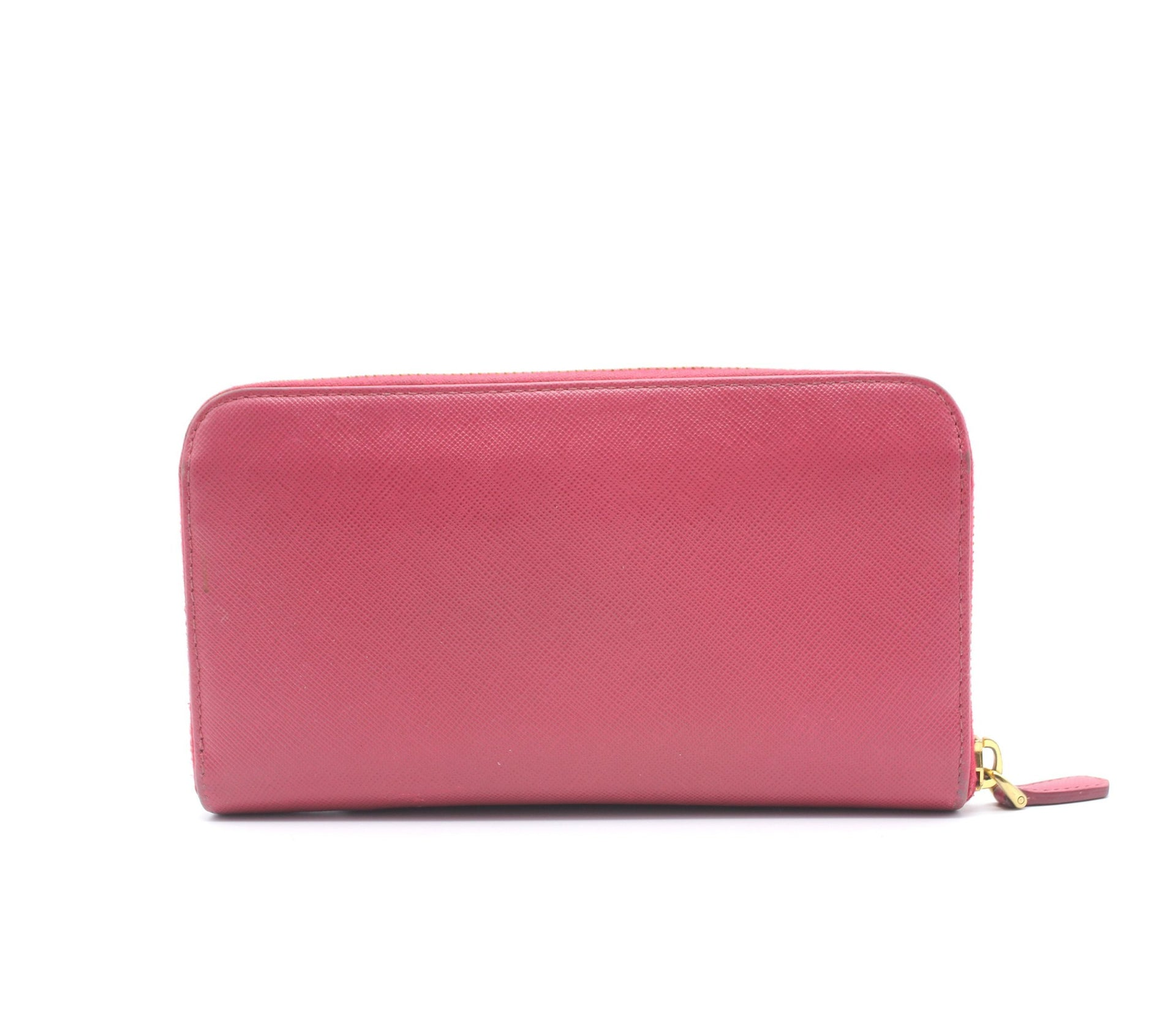 Prada Pink Saffiano Peonia Fiocco Bow Zip Around Wallet