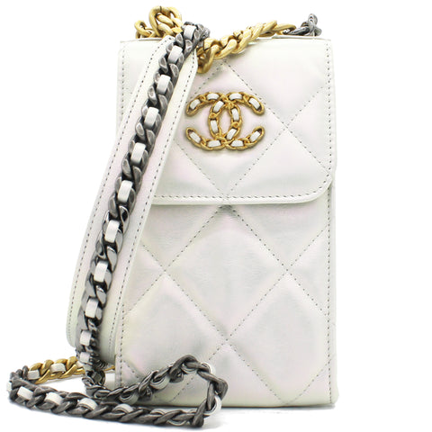Phone Holder Chanel 19 Pearly White Calfskin