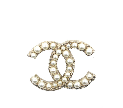 Chanel CC Pearl Brooch Pin Gold