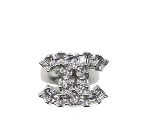 Chanel Silver Crystal CC Logo Ring