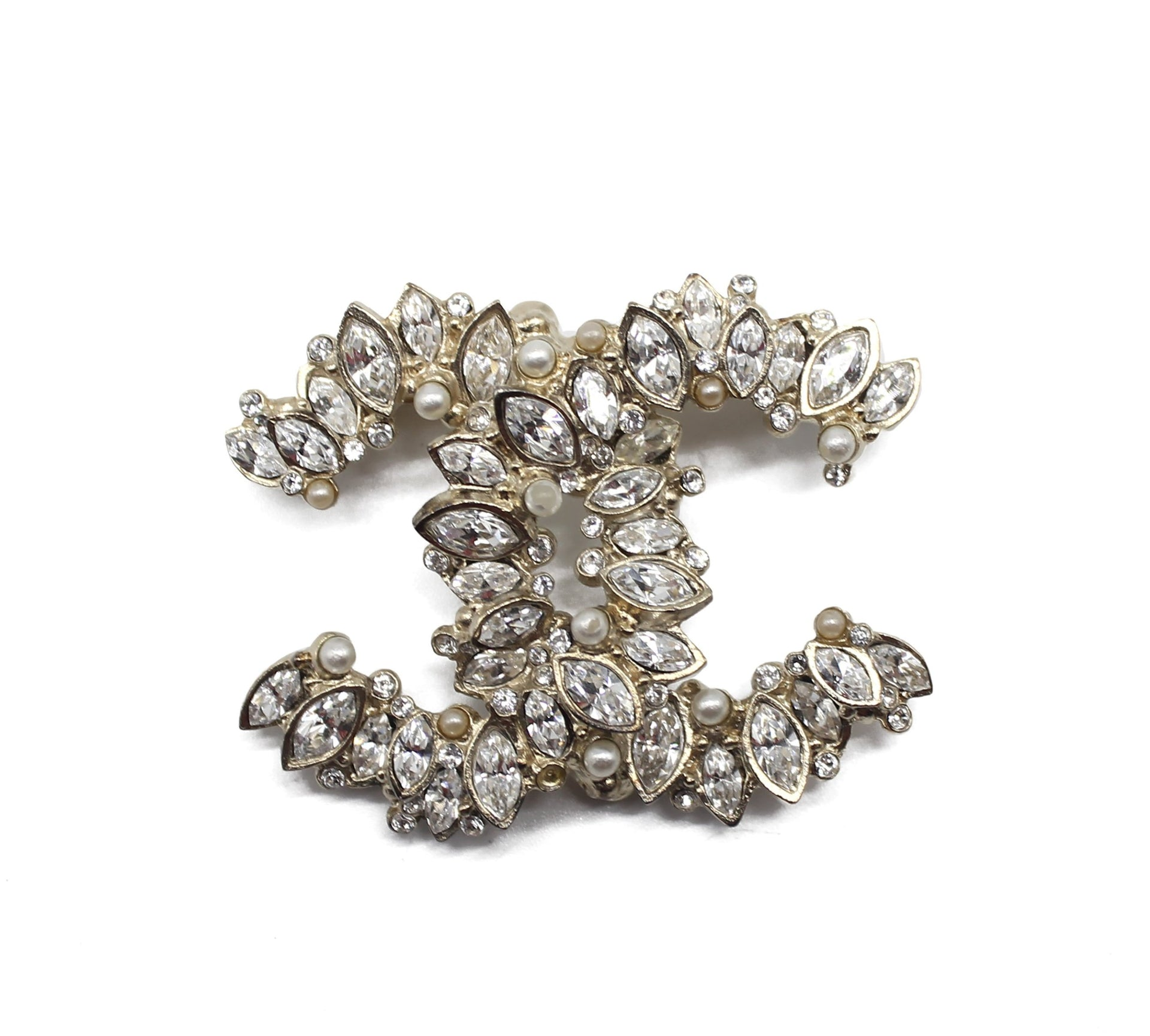 Chanel Light Gold Crystal CC Logo Brooch