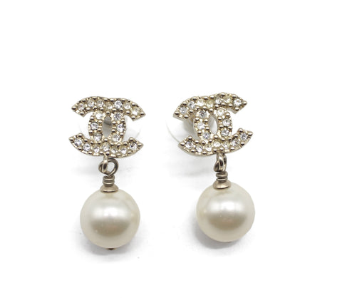 Pearl CC Drop Earrings Gold