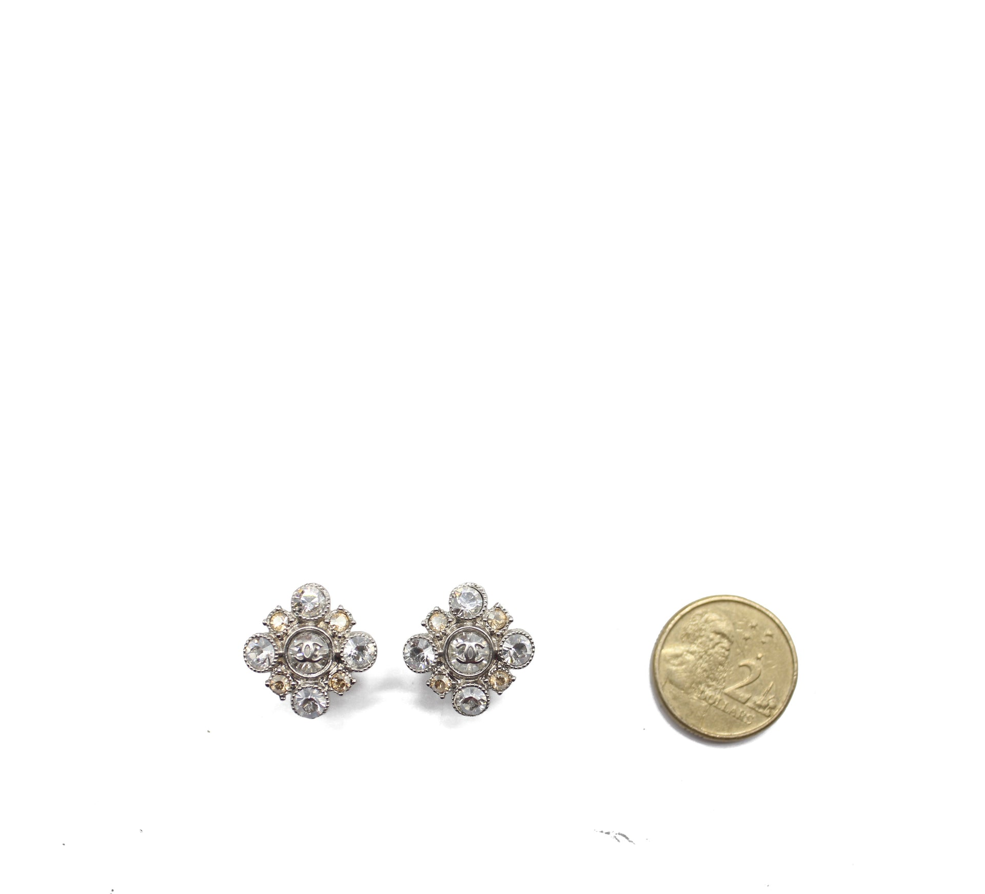 Chanel Crystal Flower Earrings