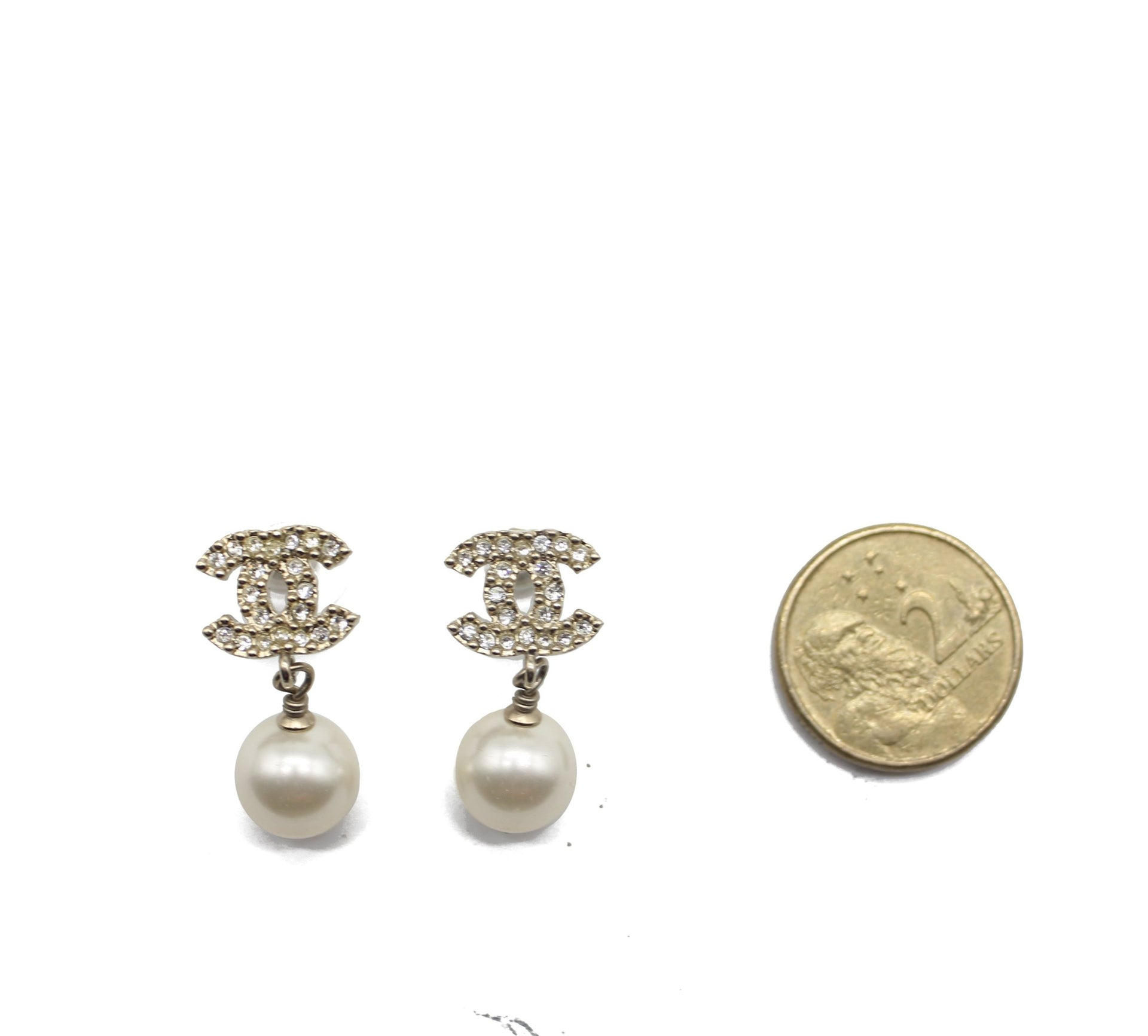 Chanel Pearl CC Drop Earrings Gold