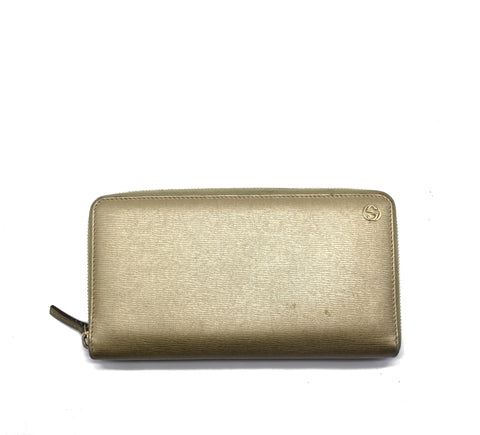 Gold Betty Leather Zip Around Winterlocking Wallet