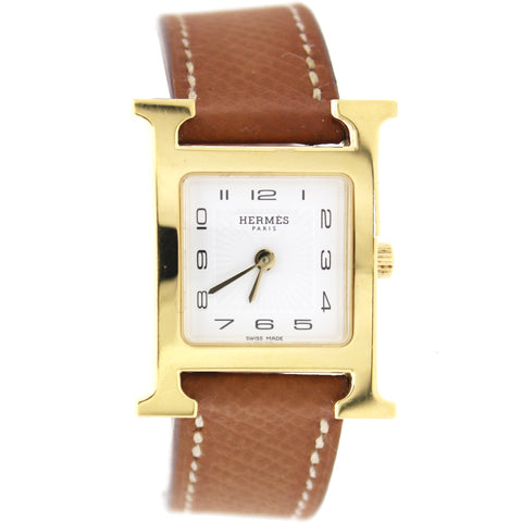 Epsom Leather Heure H PM Watch Gold