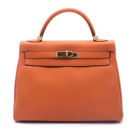 Orange Togo Leather Kelly 32