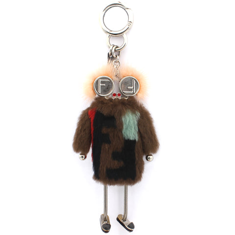 Rabbit Mink Fox Fur Teen Witch Bag Charm Brown Multicolor
