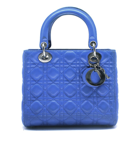 Dior Medium Lady Dior in Blue Lambskin Leather