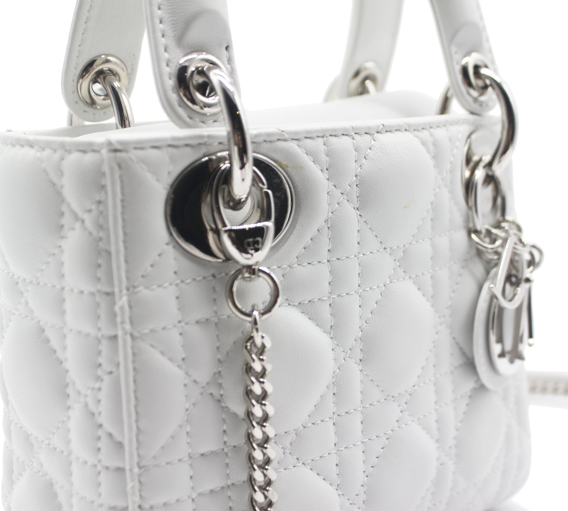 Mini Lady Dior with Chain in White Lambskin Leather