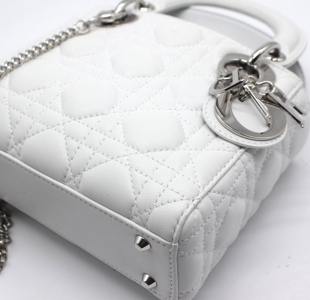 Dior Mini Lady Dior with Chain in White Lambskin Leather
