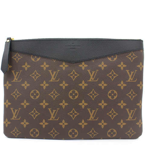 Noir Monogram Canvas Pochette Pallas Clutch Bag