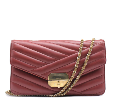 Gabrielle Flap Bag Chevron Leather