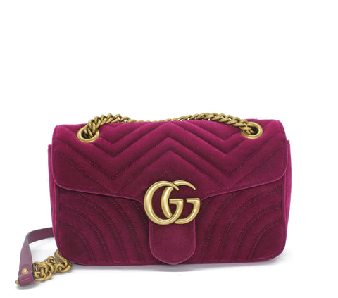 fuchsia Marmont medium velvet quilted bag