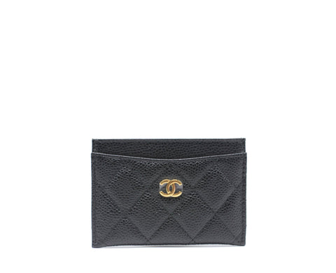 Caviar Quilted Card Holder Black