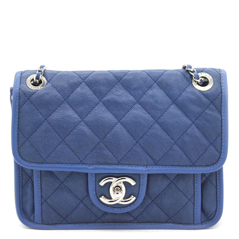 Caviar Blue Square Flap Bag