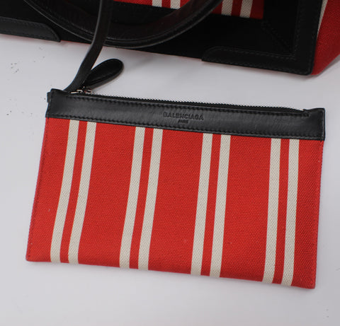 Balenciaga Small Cabas Stripe Canvas Tote
