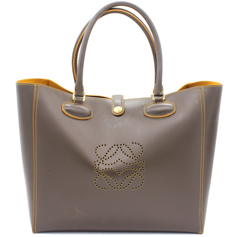 Anagram Leather Tote Khaki Bag