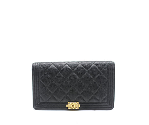 Quilted Lambskin Leather Boy L Yen Wallet