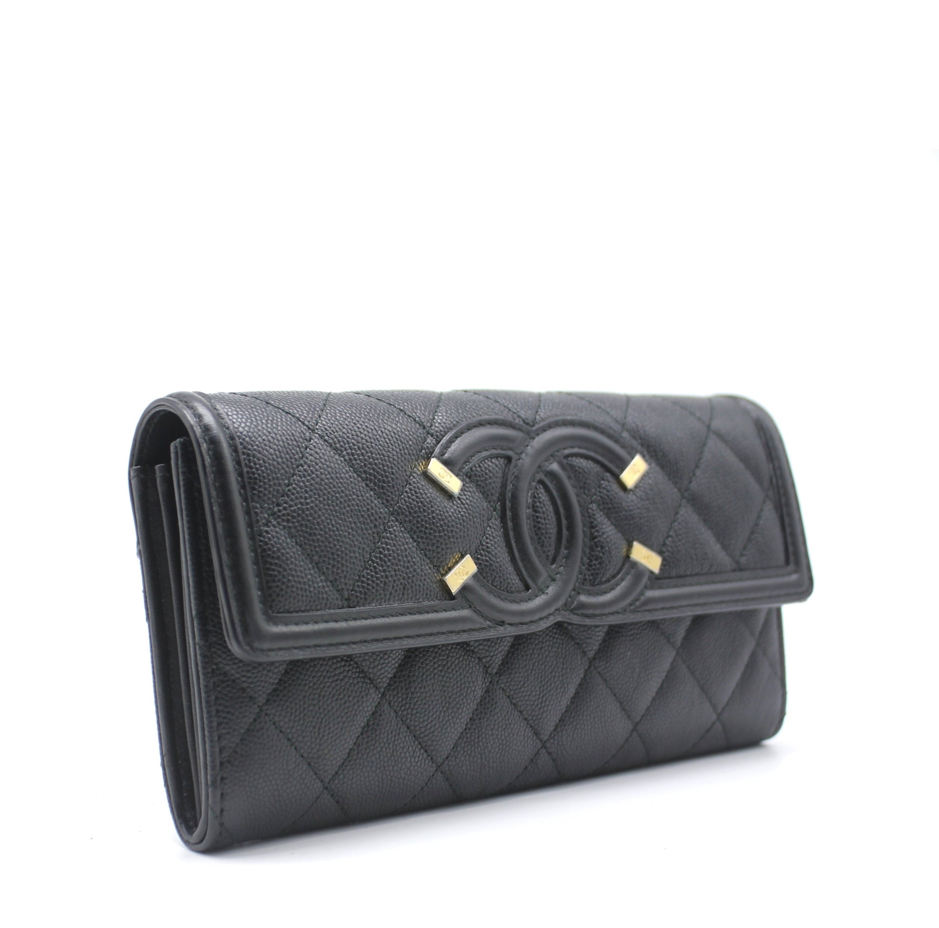 Quilted Leather CC Long Flap Wallet