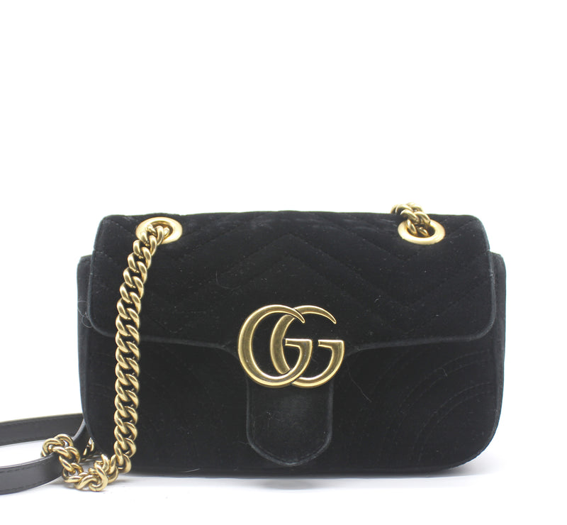 GG Marmont Small Velvet Quilted Shoulder Bag