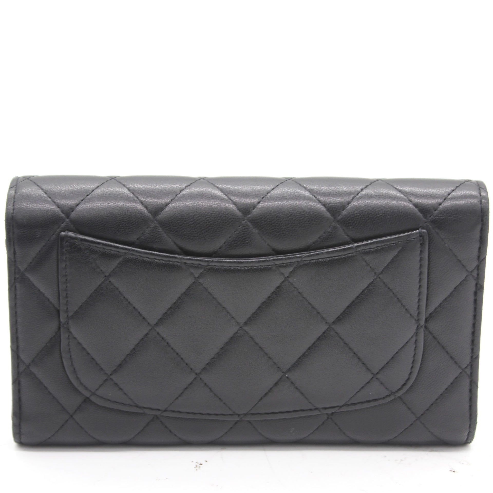 Lambskin Quilted Long Flap Wallet Black
