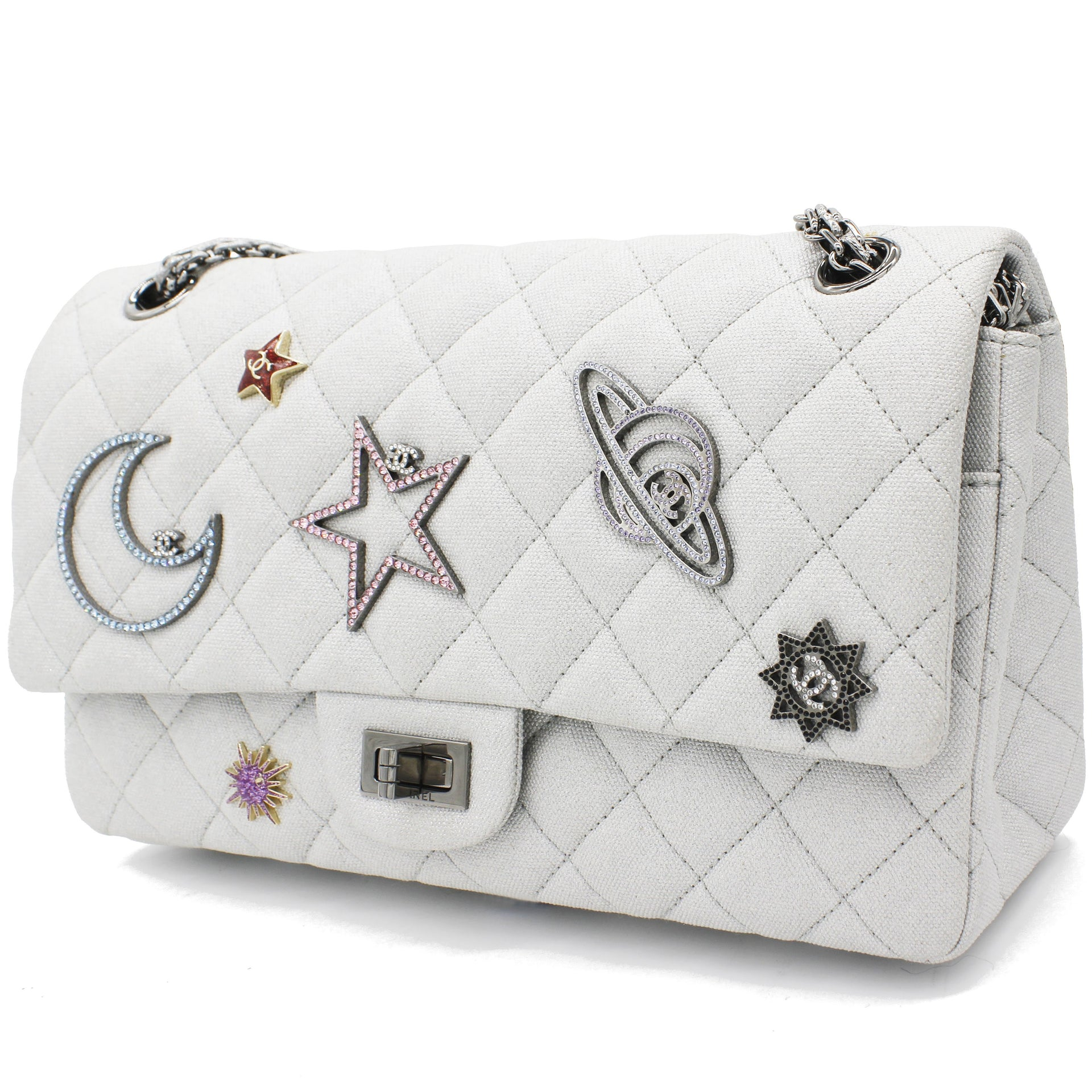 Silver 2.55 Canvas Reissue Space Charms 227 Flap Bag