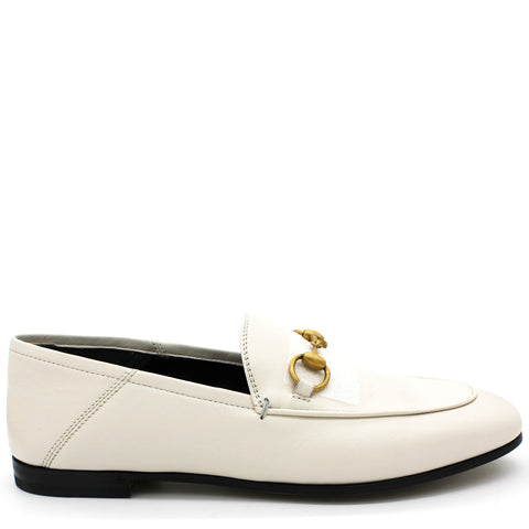 Leather Horsebit loafer White