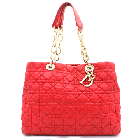 Lambskin Cannage Dior Soft Zipped Shopping Tote Red