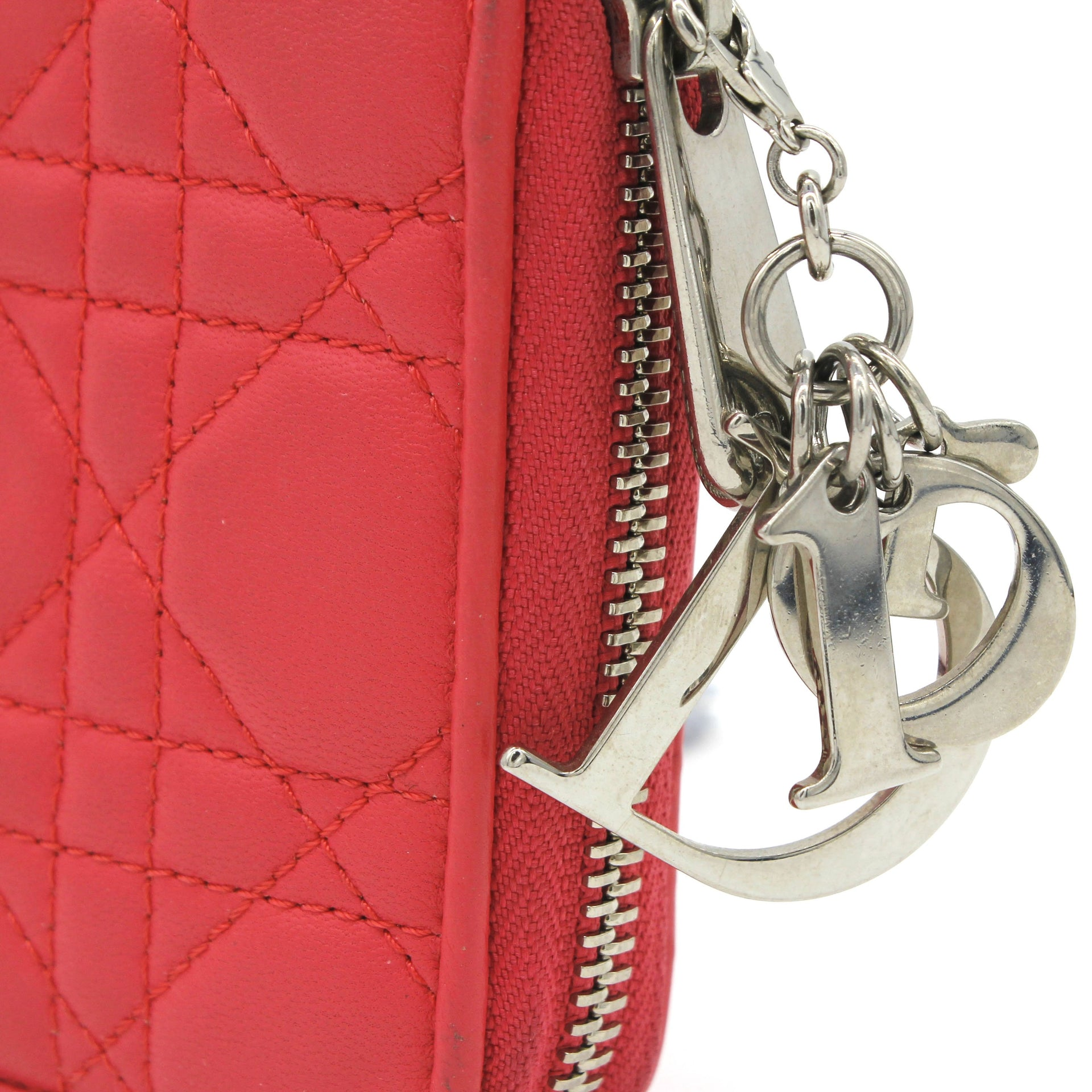 Lambksin Cannage Lady Dior Continental Zip Wallet Rose Pink