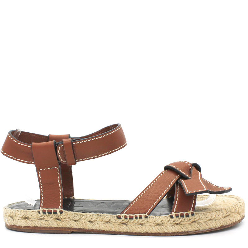 Gate topstitched leather espadrille sandals