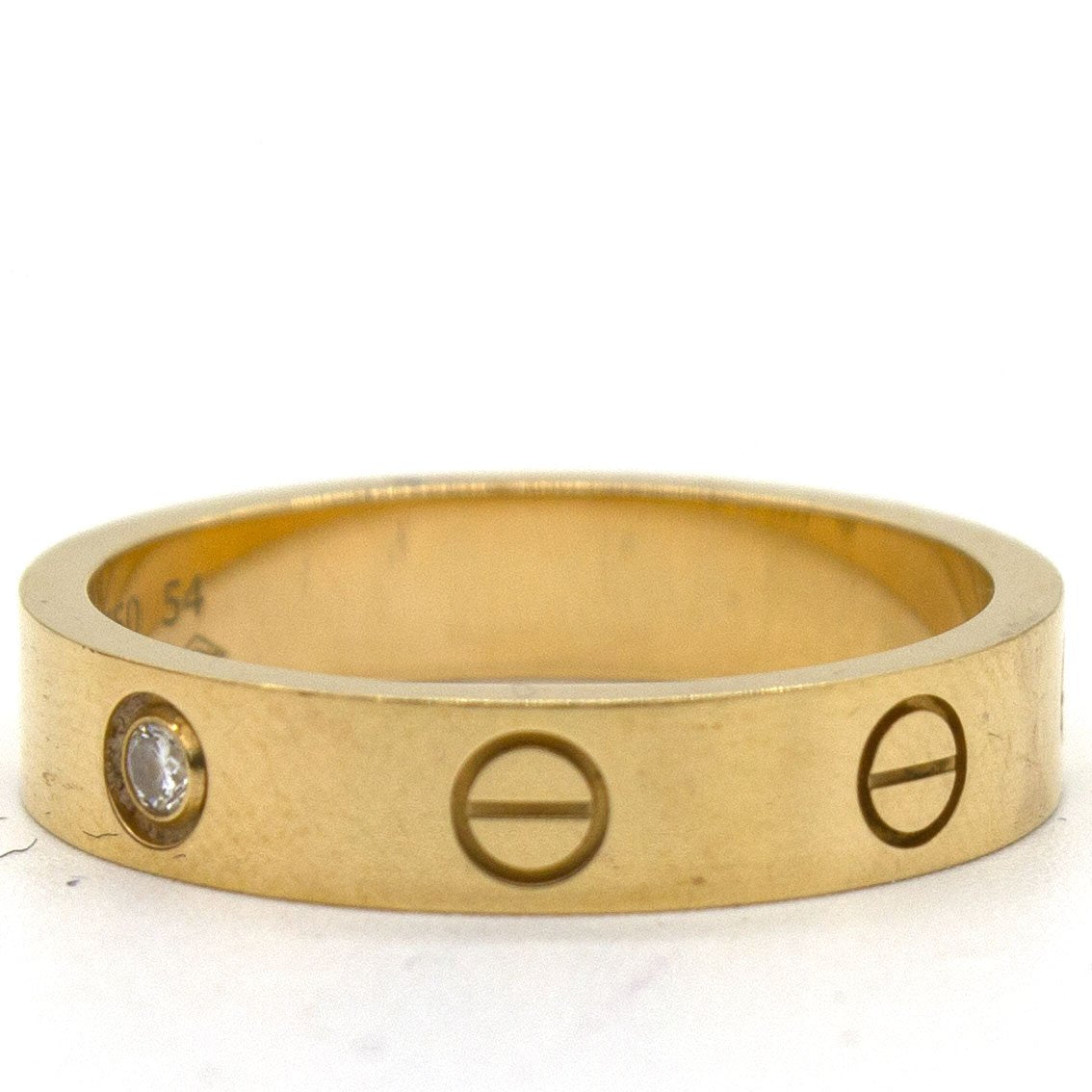 Love Wedding Band Yellow Gold, 1 diamond