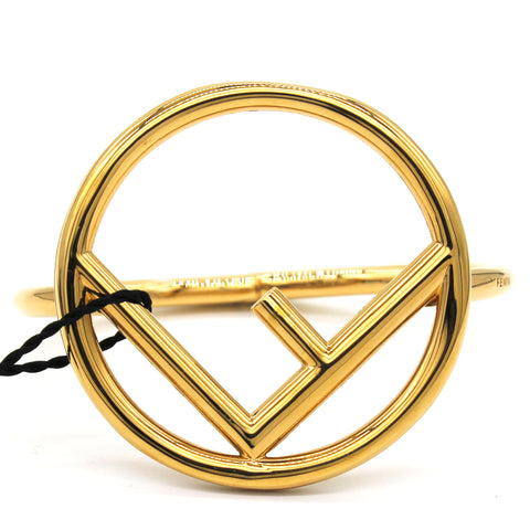 F Logo Gold Tone Bangle Bracelet