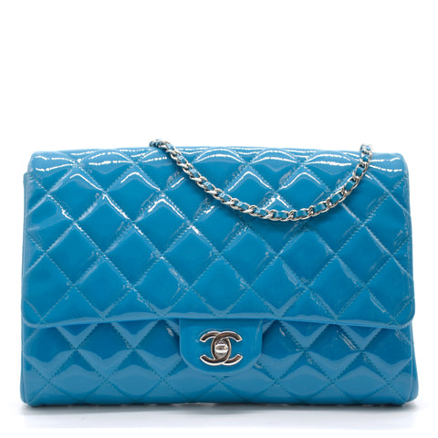 Chanel Timeless Quilted Patent New Clutch