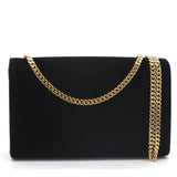 Saint Laurent Velvet Medium Monogram Kate Tassel Shoulder Bag Black