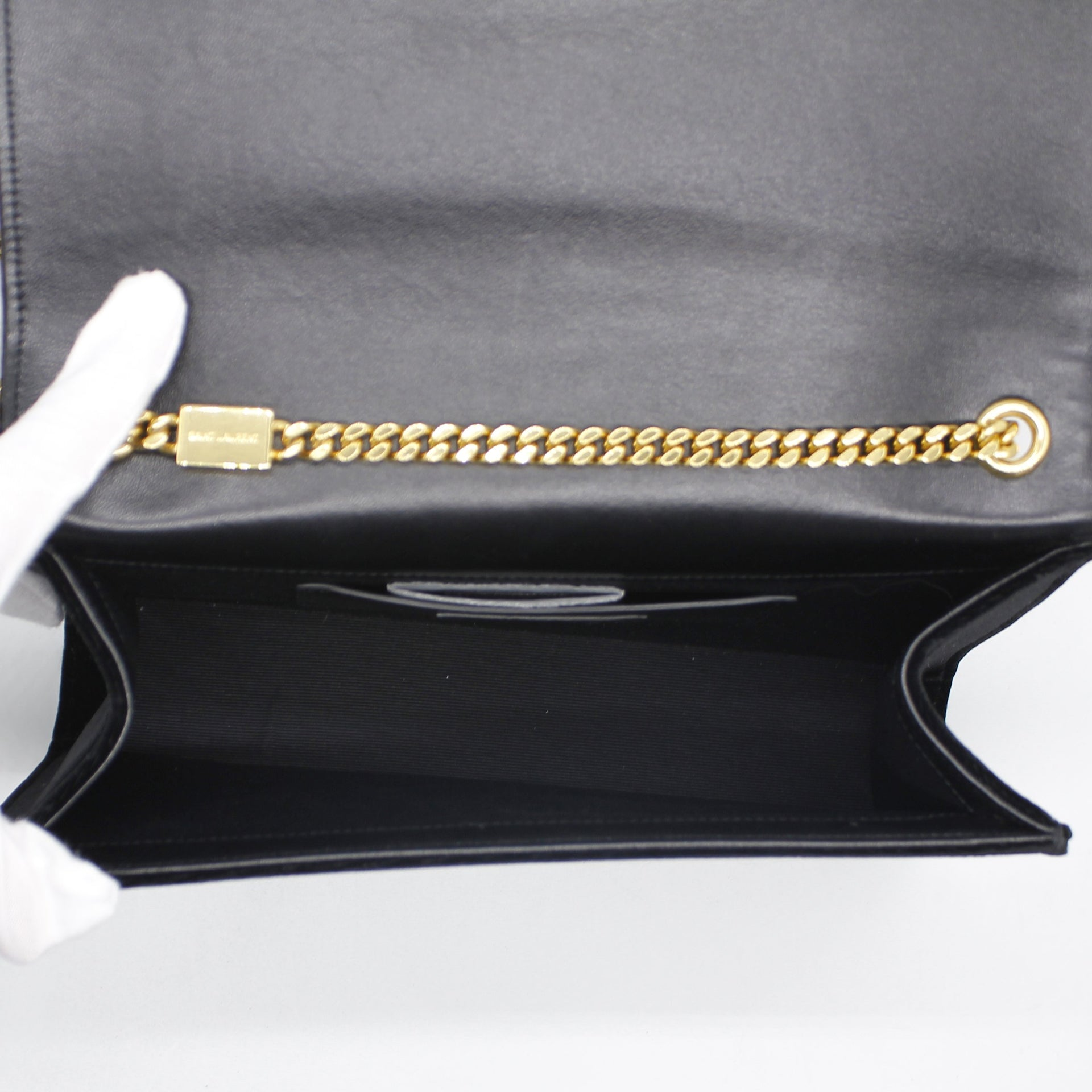 Velvet Medium Monogram Kate Tassel Shoulder Bag Black