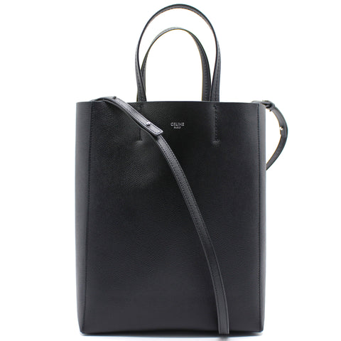 Celine Grained Calfskin Small Vertical Cabas Black