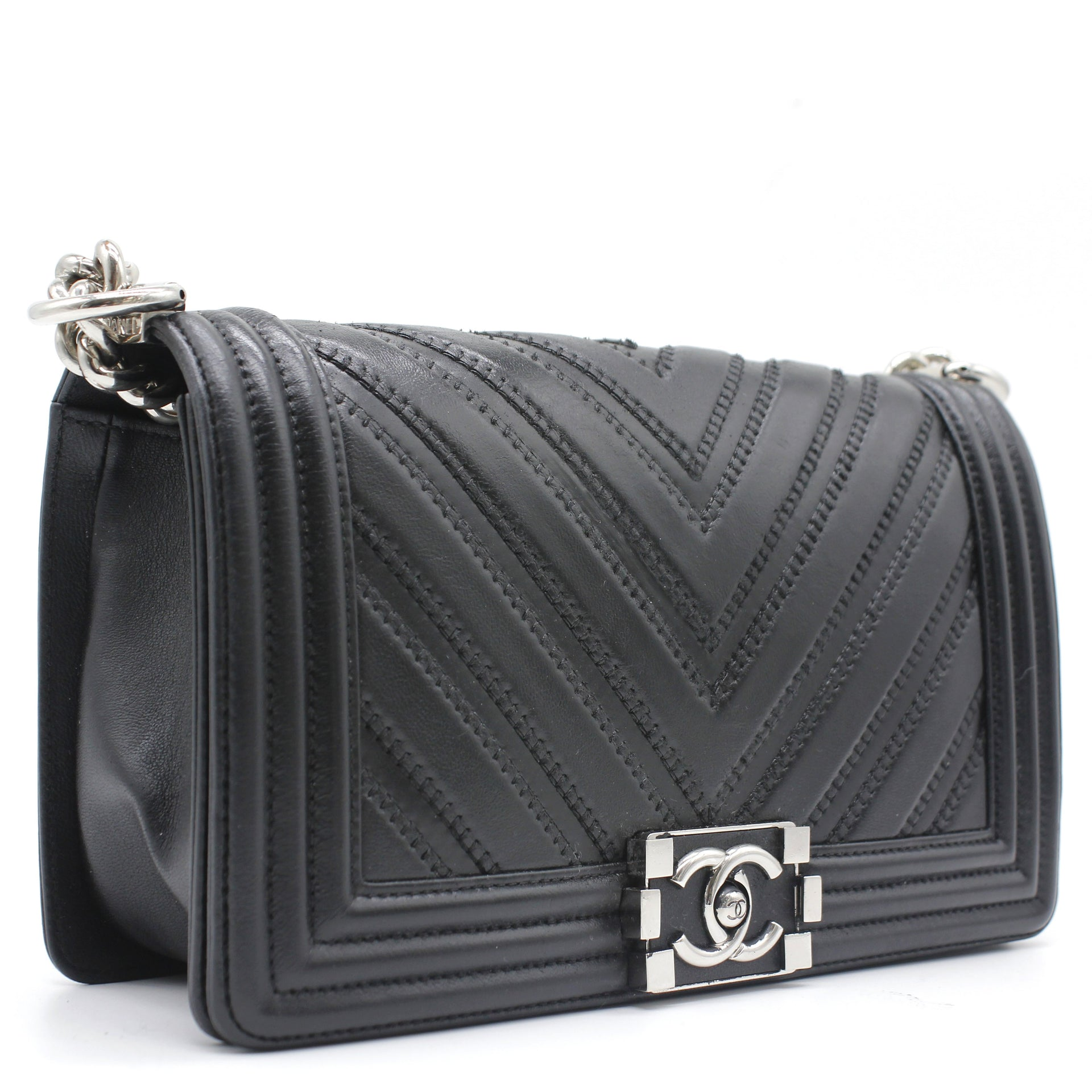 Chanel Lambskin Chevron Quilted Medium Boy Flap Bag