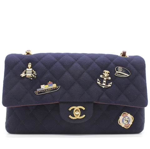 Felt Quilted Paris-Hamburg Charms Mini Rectangular Flap Dark Navy