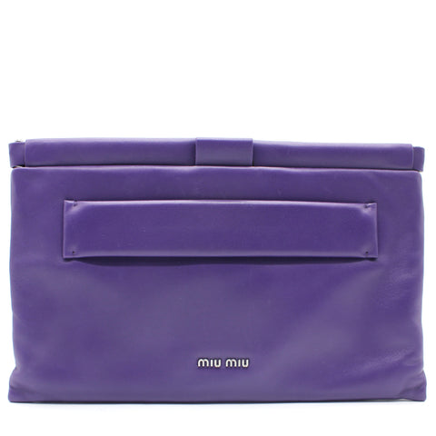 Nappa Leather Clutch - Purple