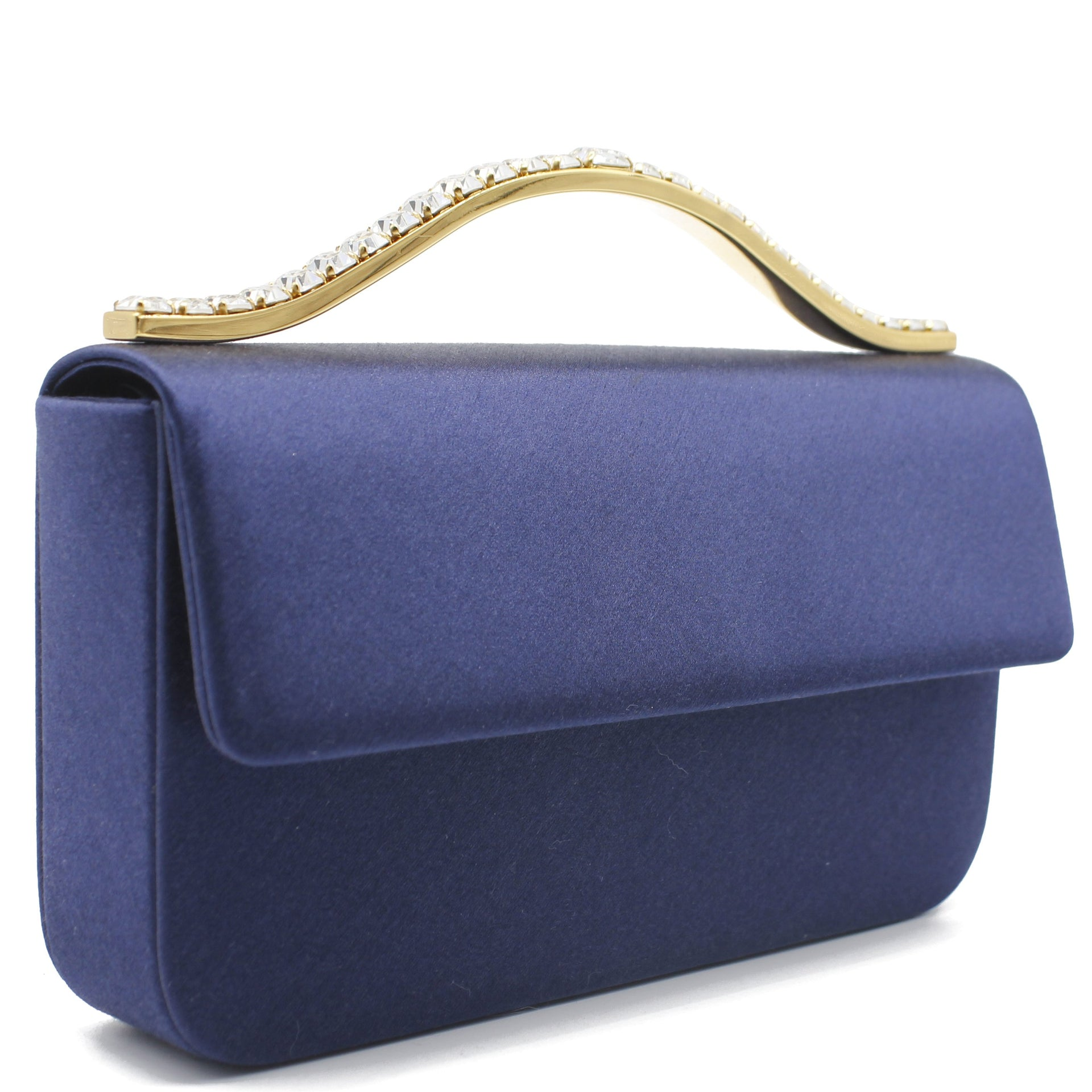 Blue Silk Crystal Handle Evening Bag
