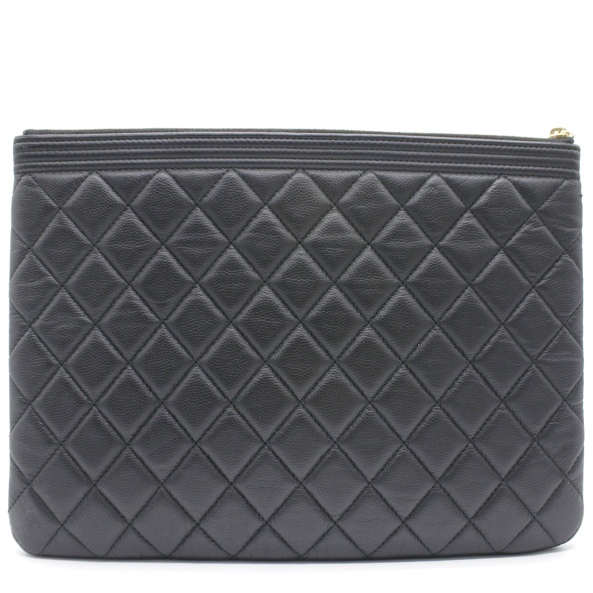 Caviar Quilted Boy O Case Clutch Pouch Bag