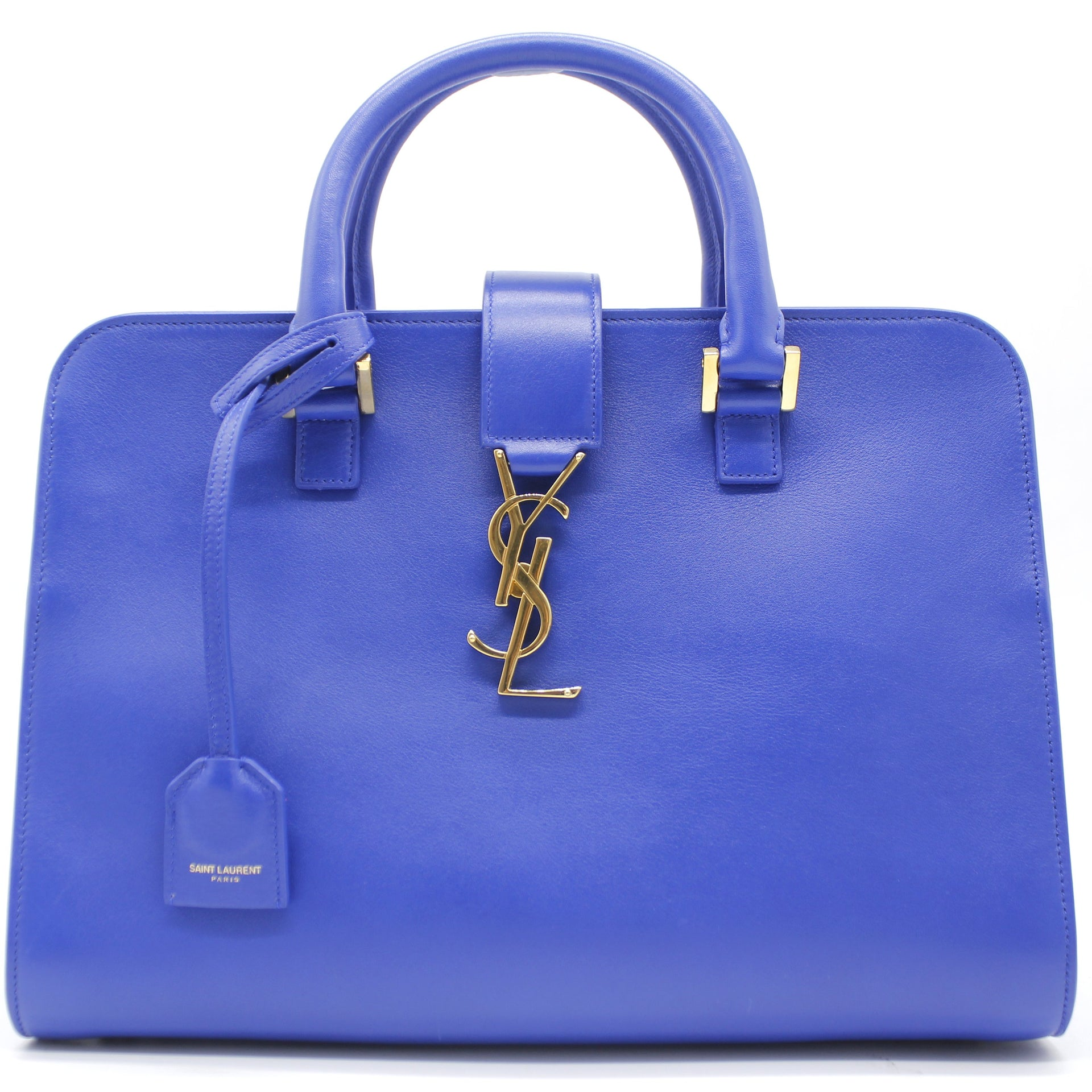 Saint Laurent Calfskin Small Monogram Cabas Blue