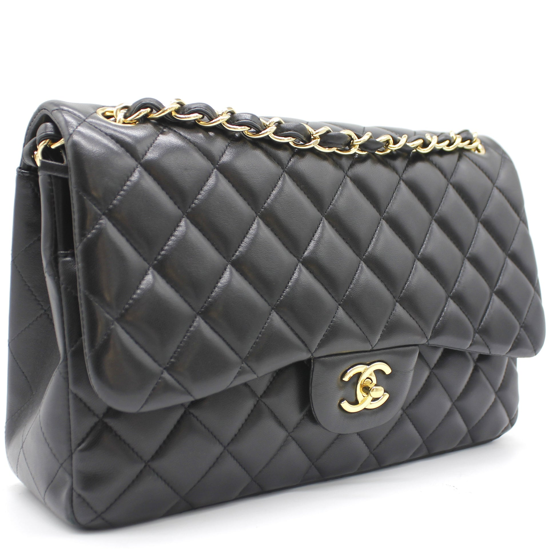 Chanel Lambskin Quilted Jumbo Double Flap Black
