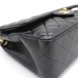 Lambskin Quilted Jumbo Double Flap Black