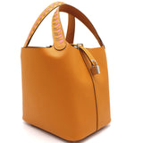 Picotin Lock Tressage De Cuir bag 22 Apricot/Rose azalee/Gold