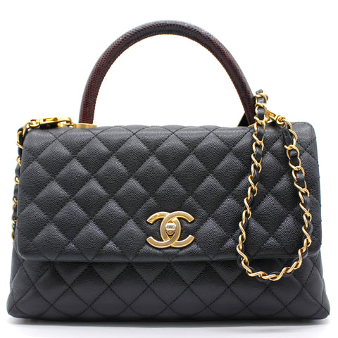 Chanel Caviar Lizard Quilted Medium Coco Handle Flap